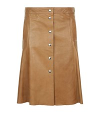 Set Leather A Line Skirt Female Brown