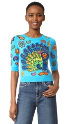 Moschino Short Sleeve Sweater Fantasy Print Light Blue