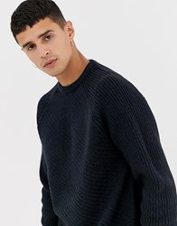 Kiomi Jumper In Navy With Diagonal Cable Knit Blue