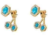 Rebecca Minkoff Pave Gem Fan Back Earrings 12K With Turquoise And Crystal Earring Gold