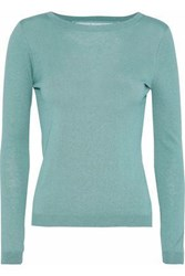 Red Valentino Point D'esprit Paneled Cashmere And Silk Blend Top Grey Green