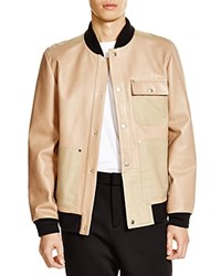 T By Alexander Wang Canvas Trim Leather Bomber Jacket Burlap