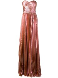 Maria Lucia Hohan Bustier Pleated Gown Pink Purple
