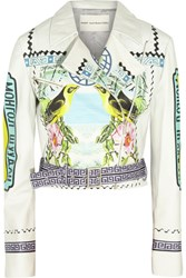 Mary Katrantzou Rodizo Printed Leather Biker Jacket