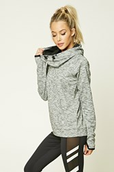 Forever 21 Active Marled Hoodie Heather Grey