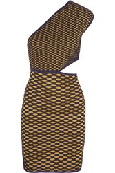 M Missoni Metallic Cutout Honeycomb Knit Mini Dress Gold