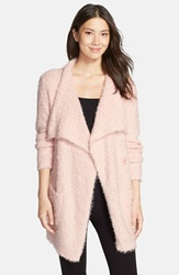 Pj Salvage Drape Collar Boucle Cardigan Blush