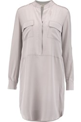 L'agence Tessa Washed Silk Shirt Dress Gray
