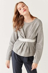Out From Under Ruched Crew Neck Sweatshirt Grey