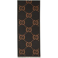 Gucci Grey And Brown Wool Gg Scarf