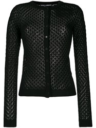 Dolce And Gabbana Crochet Knit Cardigan Black