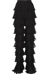 Balmain Ruffled Silk Chiffon Slim Leg Pants Black
