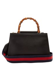 Gucci Nymphaea Bamboo Handle Small Leather Tote Black Red