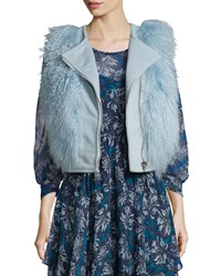 Rebecca Taylor Asymmetric Zip Fur Trim Vest Icicle Blue