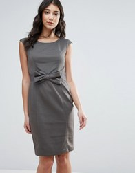 Traffic People Pencil Dress With Bow Detail Grey