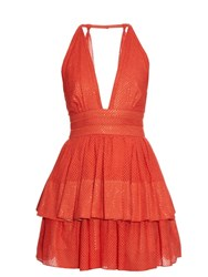 Sophie Theallet Anais Plunging Neckline Dress Red