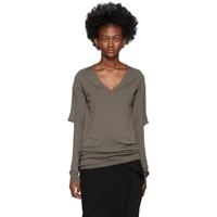 Rick Owens Brown Zionic V Neck Sweater