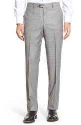 Men's Nordstrom Men's Shop Flat Front Sharkskin Wool Trousers Pearl Grey