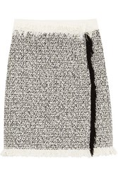 Lanvin Fringed Cotton Blend Tweed Mini Skirt Ivory