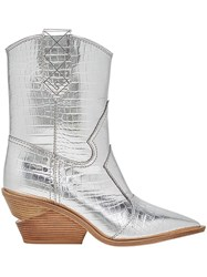 Fendi Pointed Toe Cowboy Booties Silver