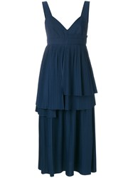 Cedric Charlier Pleated Layered Dress Blue