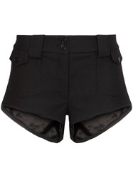Saint Laurent Mid Rise Mini Shorts Black