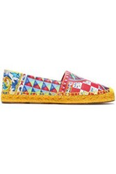 Dolce And Gabbana Printed Leather Espadrilles Red