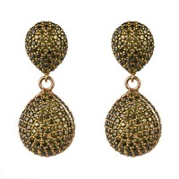 Latelita London Capri Double Drop Earring Peridot Cz Gold Green