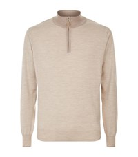 Peter Millar Half Zip Jumper Male Beige