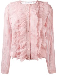Givenchy Crepe Ruffled Blouse Pink Purple