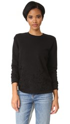 Cotton Citizen Malibu Destroyed Crew Neck Sweatshirt Jet Black
