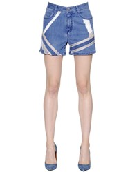 Ermanno Scervino Lace Intarsia Cotton Denim Shorts