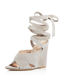 Charles David Quest Ankle Wrap Wedge Sandals Gray