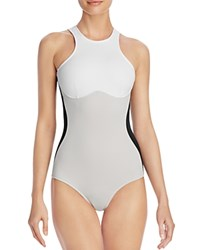 Stella Mccartney Iconic Color Block Racerback One Piece Swimsuit Black Stone White