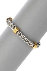Blackjack Polished Gold And Silver Tone Stainless Steel Twisted Bracelet Beige