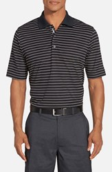 Men's Bobby Jones 'Xh20 Pencil Stripe' Regular Fit Four Way Stretch Golf Polo Black