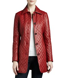 Neiman Marcus Long Quilted Leather Jacket Red
