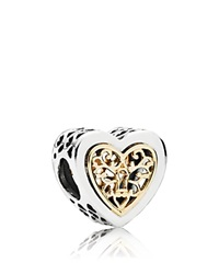 Pandora Design Pandora Charm 14K Gold And Sterling Silver Locked Hearts Moments Collection