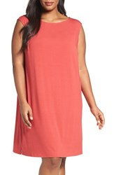 Eileen Fisher Plus Size Women's Jersey Shift Dress Red Lantern