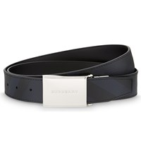 Burberry Charles Check Plaque Buckle Leather Belt Black