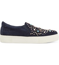 Dune Elha Star Embellished Suede Trainers Blue Suede