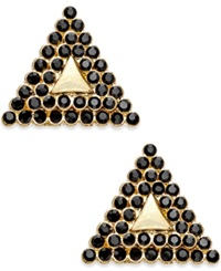 Bar Iii Gold Tone Black Pave Triangle Stud Earrings