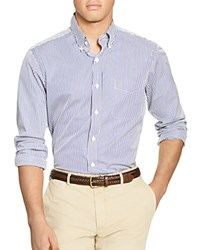 Polo Ralph Lauren Striped Broadcloth Classic Fit Button Down Shirt Blue White