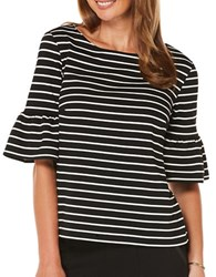Rafaella Petite Yarn Dyed Striped Top Black