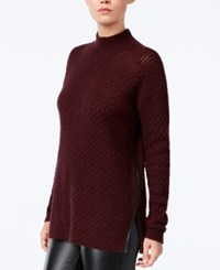 Bar Iii Faux Leather Trim Mock Neck Sweater Only At Macy's Deep Merlot