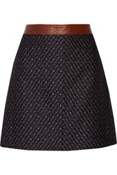 Theory Lanitta Leather Trimmed Jacquard Mini Skirt Black