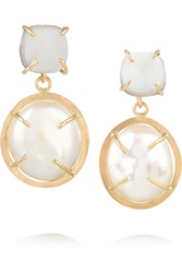Melissa Joy Manning 14 Karat Gold Pearl And Druzy Earrings