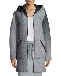 Alexander Wang Hooded Wool Zip Jacket Heather Gray