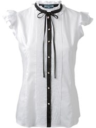 Guild Prime Contrast Fastening Ruffled Lace Button Down Sleeveless Shirt White