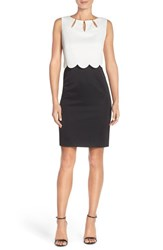 Petite Women's Ellen Tracy Pique Scalloped Overlay Dress With Cutouts Black Ivory